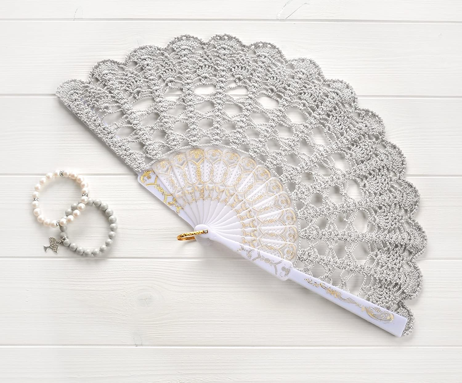 Pearl gray wedding hand fan, lace fan, gift for Bride, Mother of the Bride  gift