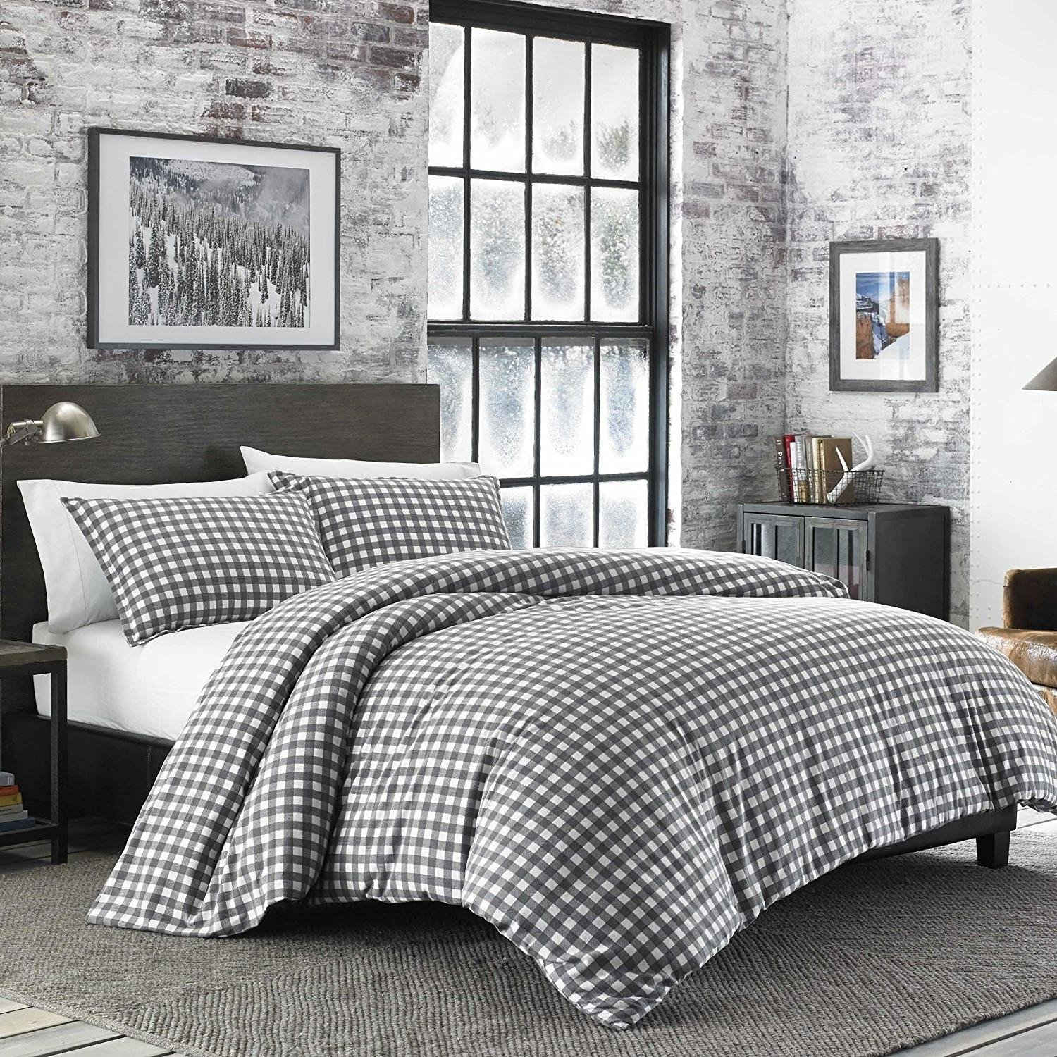2pc Vibrant Grey White Plaid Twin Size Duvet Cover Set, Tartan Madras Squared Checked Woods, Check Lodge Cabin Themed Country Checkered Lumberjack Bedding, Cotton Flannel