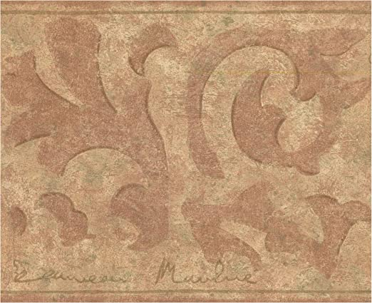 York Prepasted Wallpaper Border Abstract Vines Distressed Brown