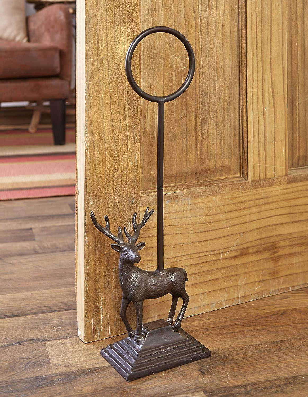 Cast Iron Door Stop with Carrying Handle - Woodland Deer