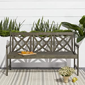 Vifah Renaissance Outdoor Patio 5-Foot Hand-Scraped Wood Garden Bench
