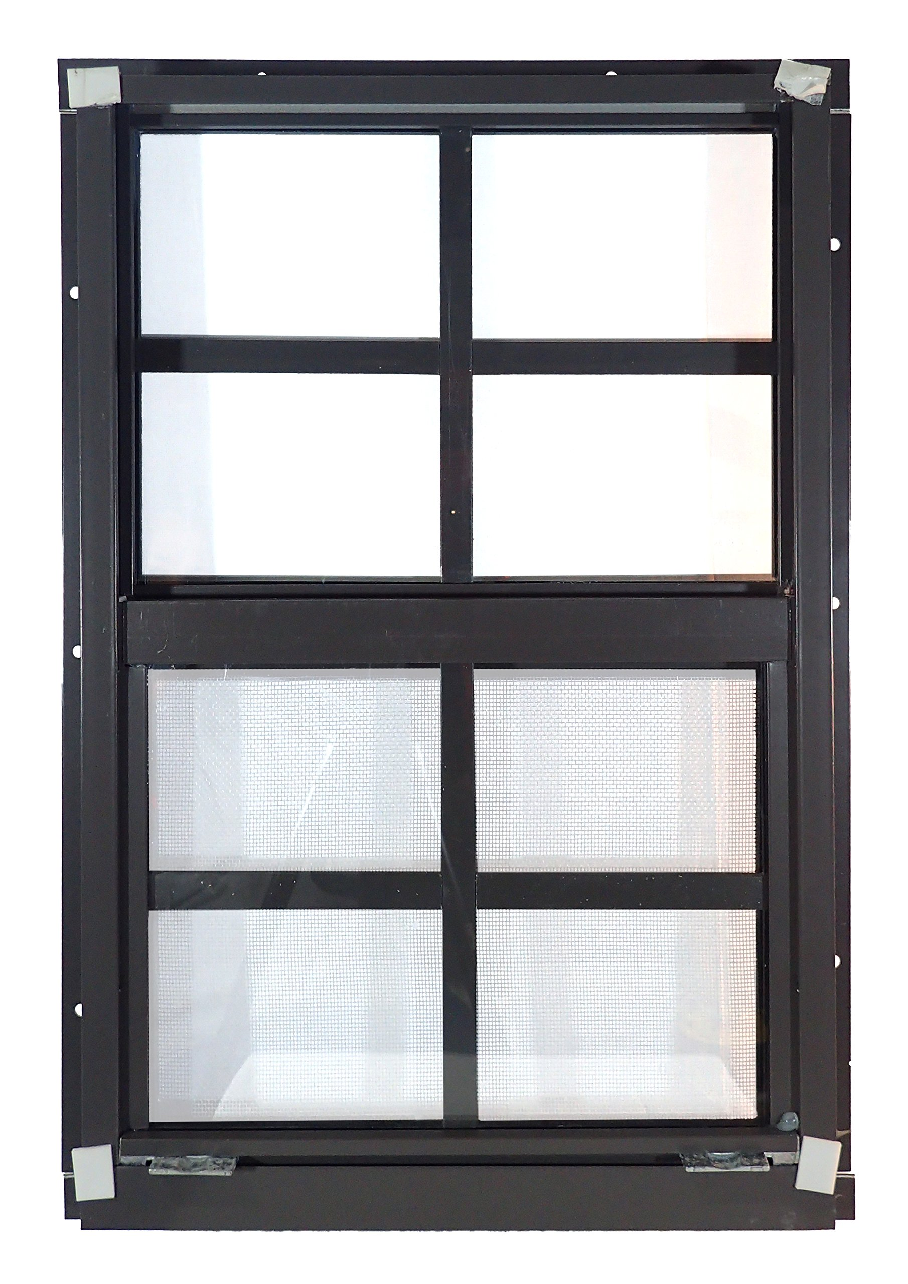 Shed Windows 12'' W x 18'' H - Flush Mount w/ Safety Glass - Playhouse Windows (Brown)