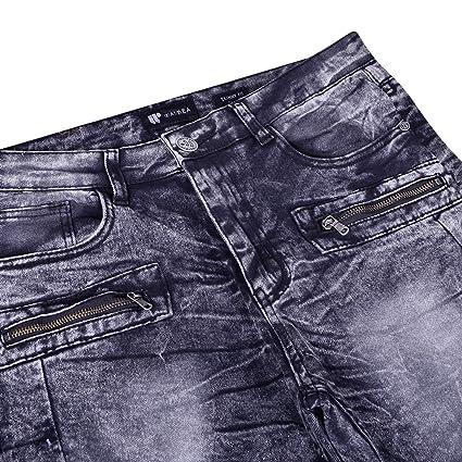 7b979723 Waimea Mens Moto Slim Fit Denim | Comfortable Skinny Stretch Biker Jeans  with Zipper Detail at Amazon Men's Clothing store: