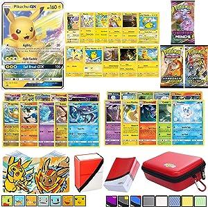 Totem World Pika Card Lot: 1 Ultra Rare Pika V or GX, 5 Pika Cards, 3 XY or Sun & Moon Booster Packs, 10 Rares, 10 Foil Holo Cards, Zipper Case, Deck Box, Mini Binder & Protector Card Sleeves