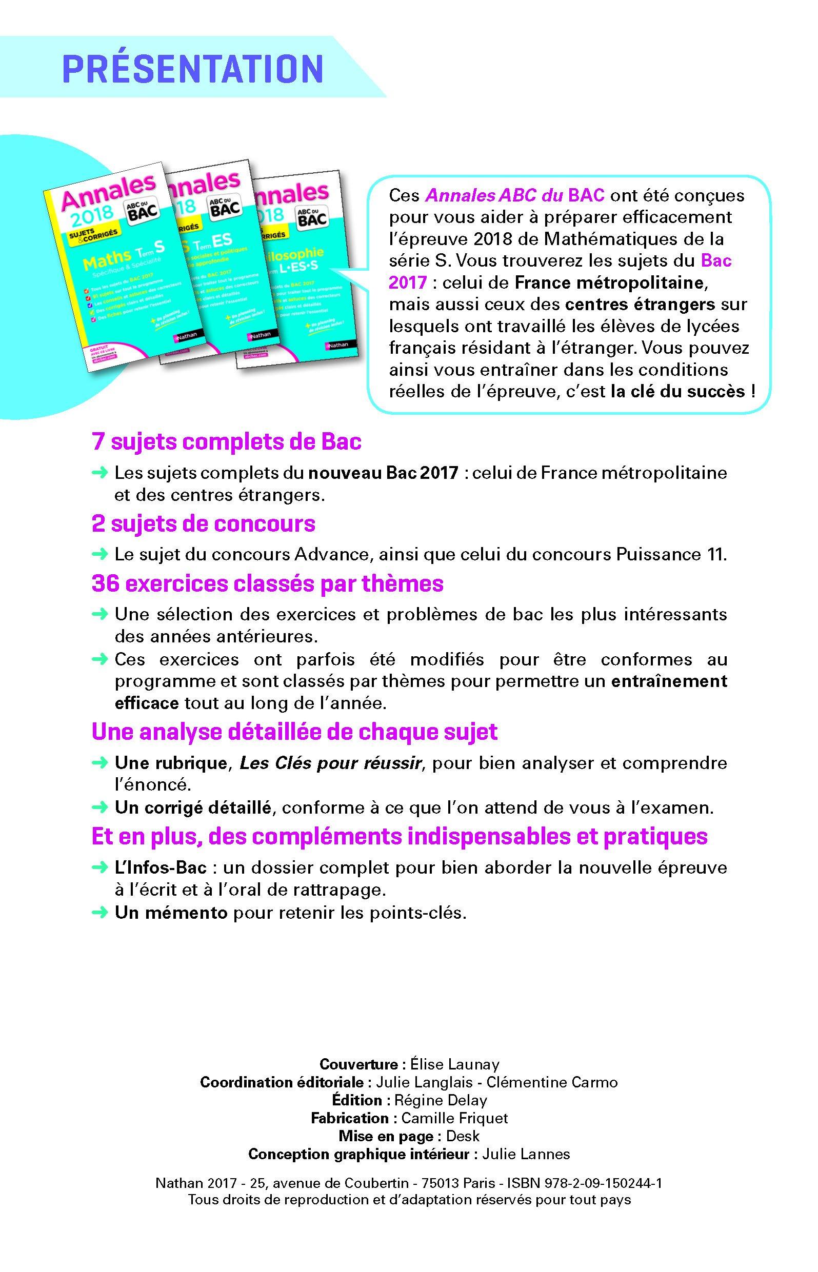 Mathématiques Tle S spécifique et spécialité : Sujets & corrigés: 9782091502441: Amazon.com: Books