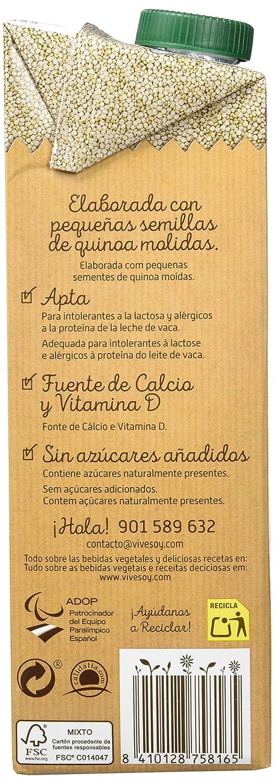 Vivesoy Bebida de Quínoa - 6 Recipientes de 1 l - Total: 6 l: Amazon.es: Alimentación y bebidas