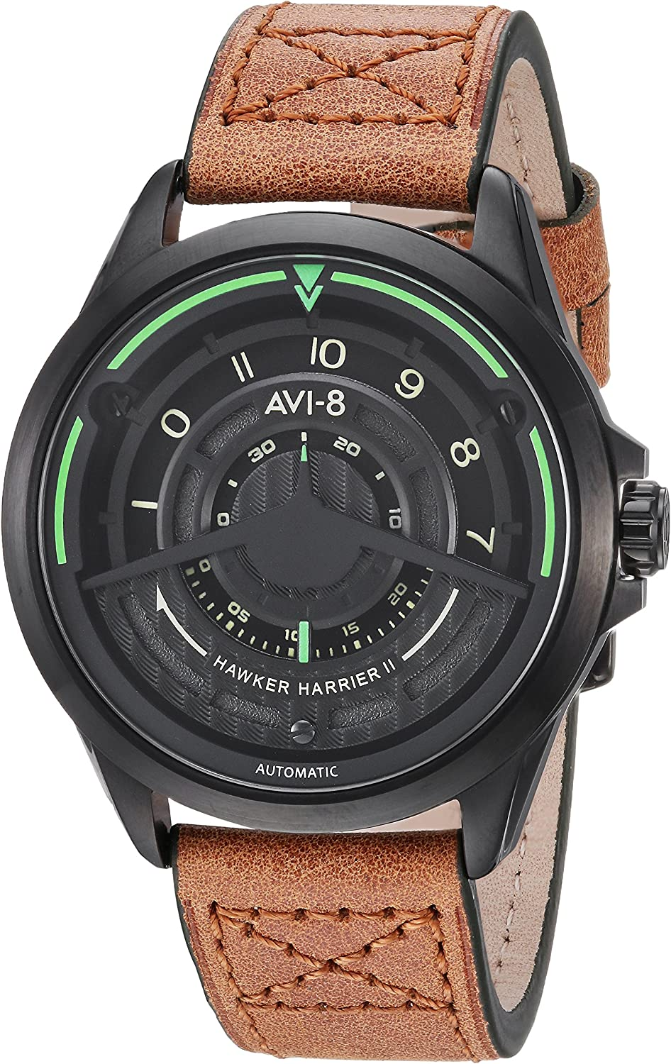AVI-8 Men's AV-4047 'Pegasus Edition' Japanese Automatic Stainless Steel Sapphire Lens and Leather Aviator Watch