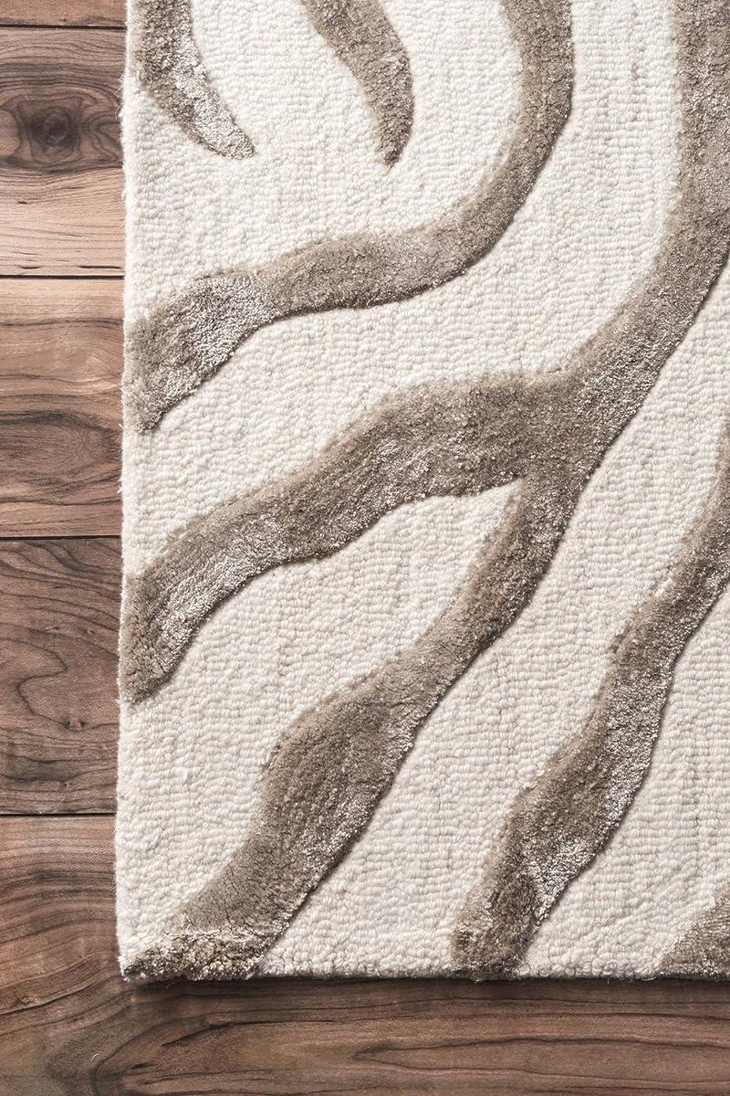 nuLOOM Grey Hand Tufted Plush Zebra Area Rug, 5 x 8