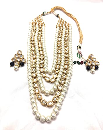 1244dcd597 Buy Necklace set artificial fancy jewellery Kundan Gold plated color necklace  set with matching earring Online at Low Prices in India - Amazon.in