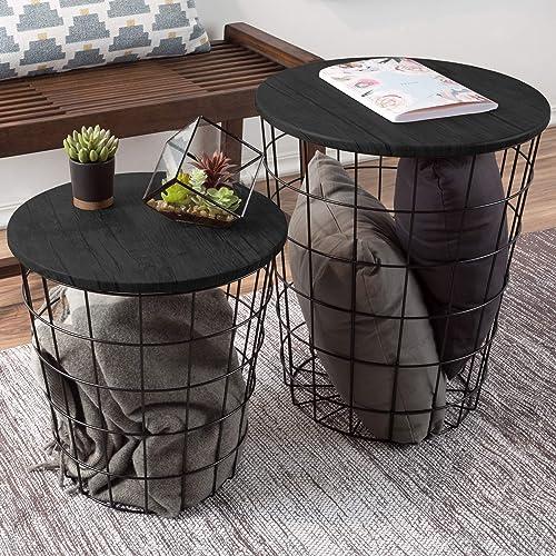 Lavish Home Nesting End Tables with Storage Black