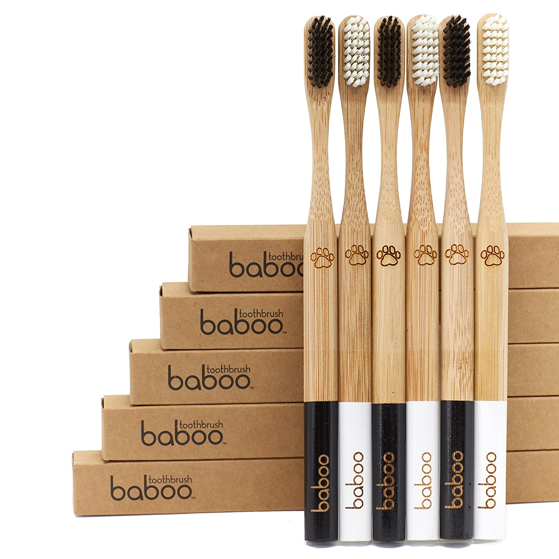 Bamboo Toothbrush (2 pack) Organic Bamboo Handle, BPA Free Nylon Bristles, Environmentally Friendly, safe kids adults & planet Baboo