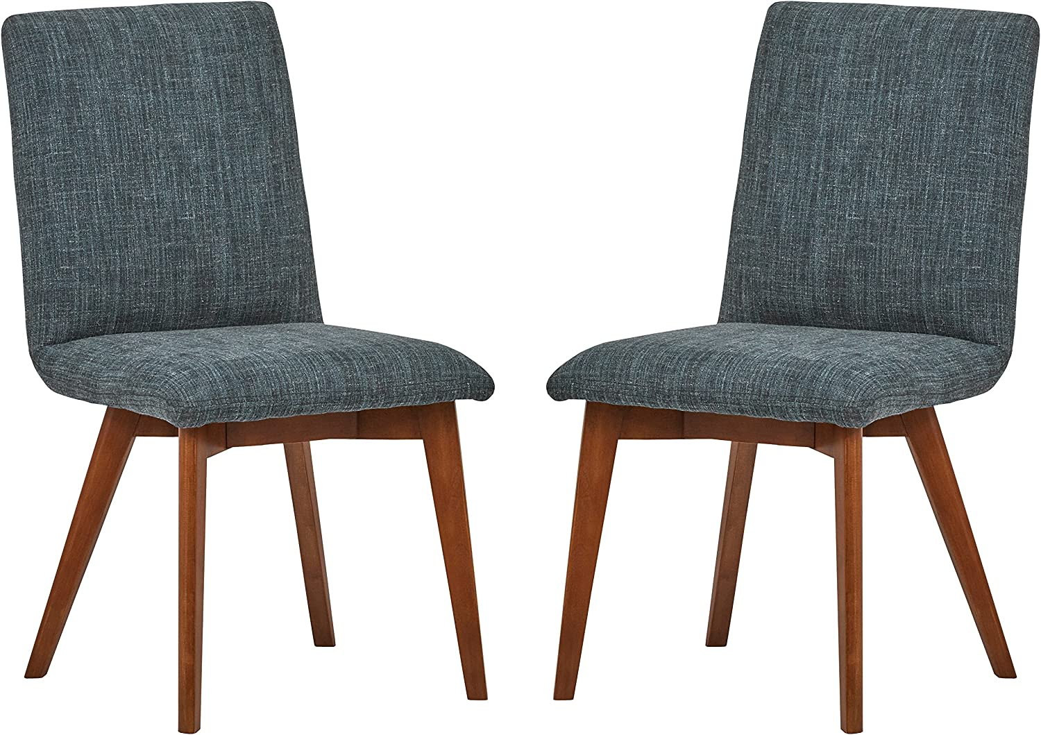 Amazon Brand – Rivet Ricky Mid-Century Modern Set of 2 Kitchen Dining Room Table Chairs, 37 Inch Height, Marine Blue