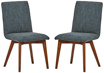Admirable Rivet Ricky Mid Century Modern Set Of 2 Kitchen Dining Room Table Chairs 37 Inch Height Marine Blue Forskolin Free Trial Chair Design Images Forskolin Free Trialorg