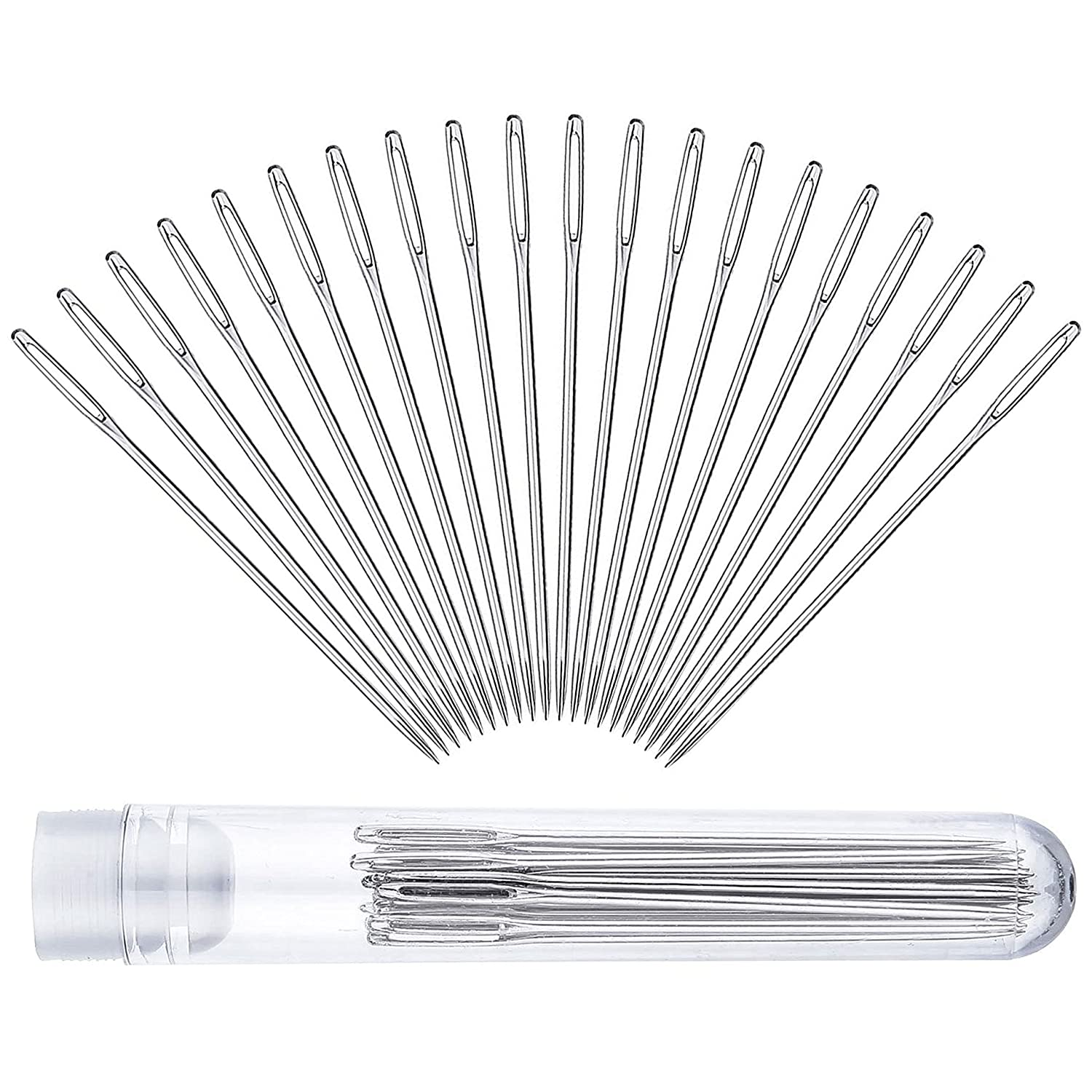 Auvanteo 20-Pack 5.2cm Large-Eye Stitching Needles with Clear Bottle for Leather Projects