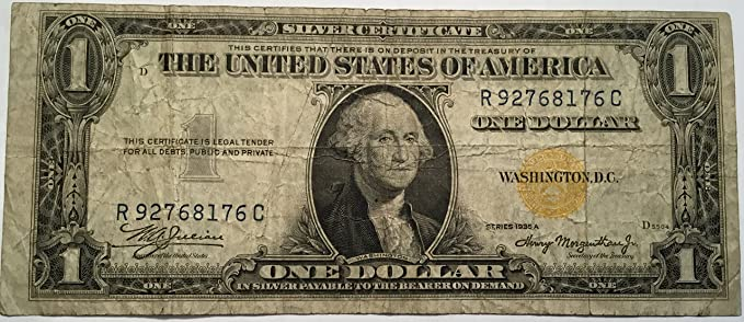 Amazon.com: 1935 A $1 NORTH AFRICA SILVER CERTIFICATE YELLOW SEAL ...