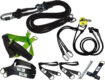 BodyCROSS Juego de entrenamiento de suspensión prémium | entrenador con anclaje para puerta y Sling Trainer con polea | asas desmontables | póster con ...