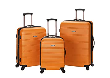 Amazon.com | Rockland Luggage Melbourne 3 Piece Set, Orange ...