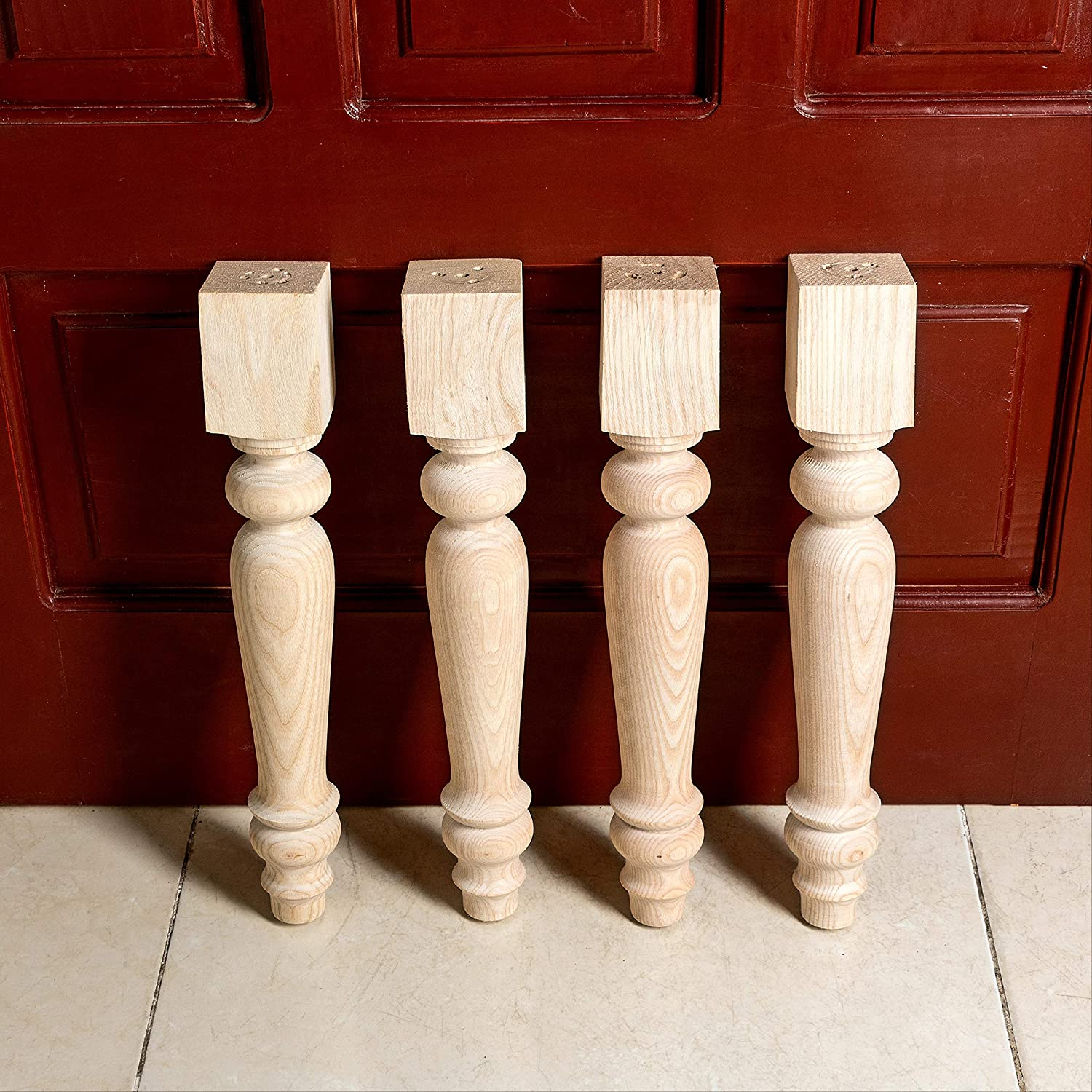 WOODINNO Furniture Legs 16 Inch Chunky Farmhouse Bench Legs for Coffee Table Dining Table | Modern Tapered Round Feet Set of 4 | Easy to Paint and Stain | Ash Wooden Feets