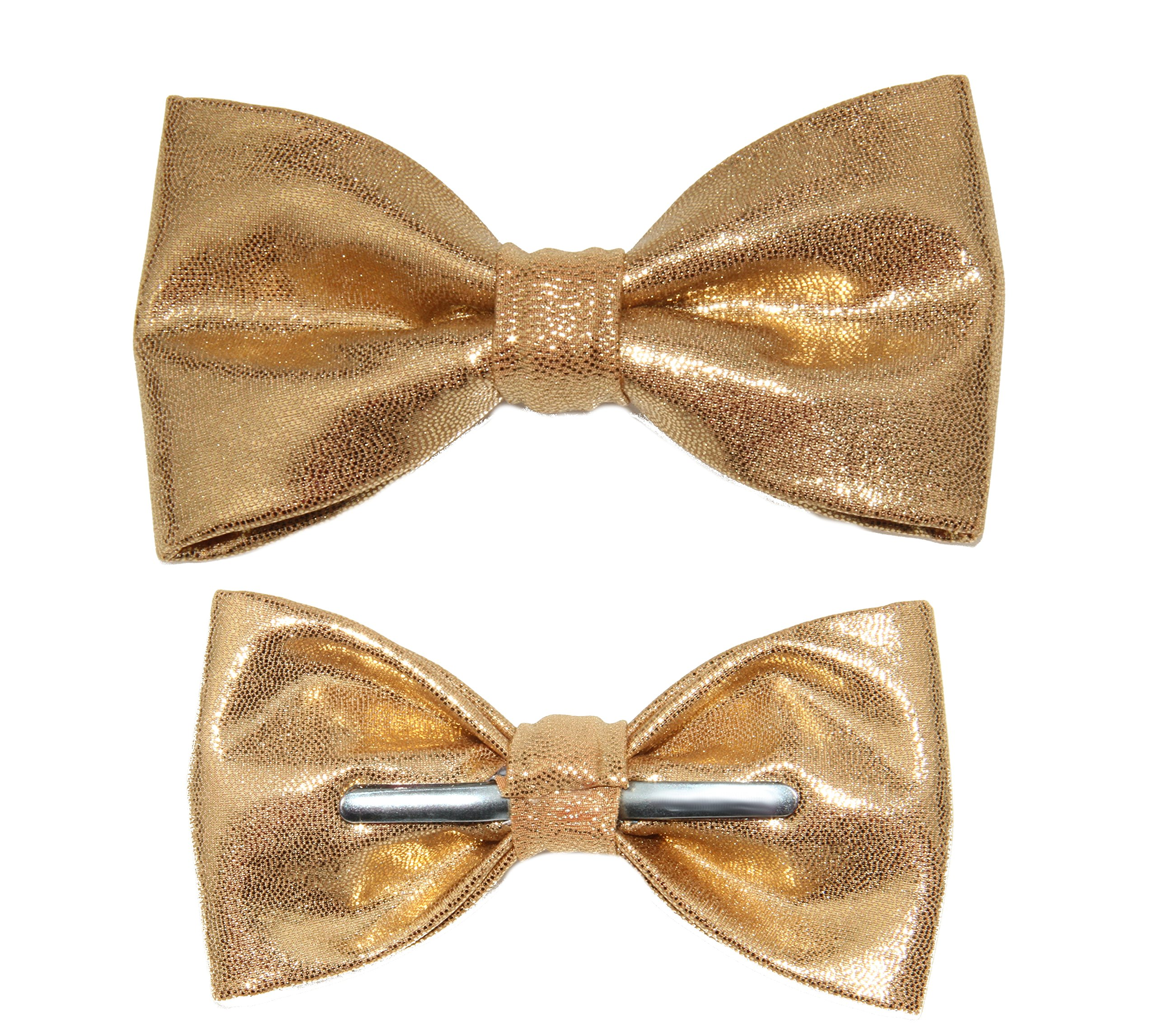 amy2004marie Men's Shiny Light Gold Clip On Bow Tie Bowtie by