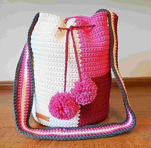 Hand Crocheted Shoulder Bag Summer Bag Drawstring Bag Tapestry