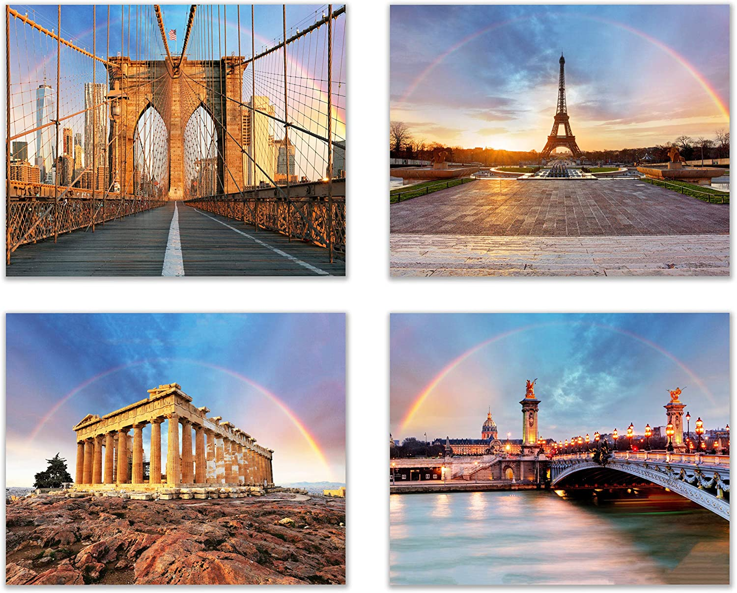 Perfect Rainbows at History's Greatest Sites. Put a piece of heaven on your wall with these Historic Sites - A Nature's Landscape (Set of 4): Modern Art Decor Unframed Photo Prints (8