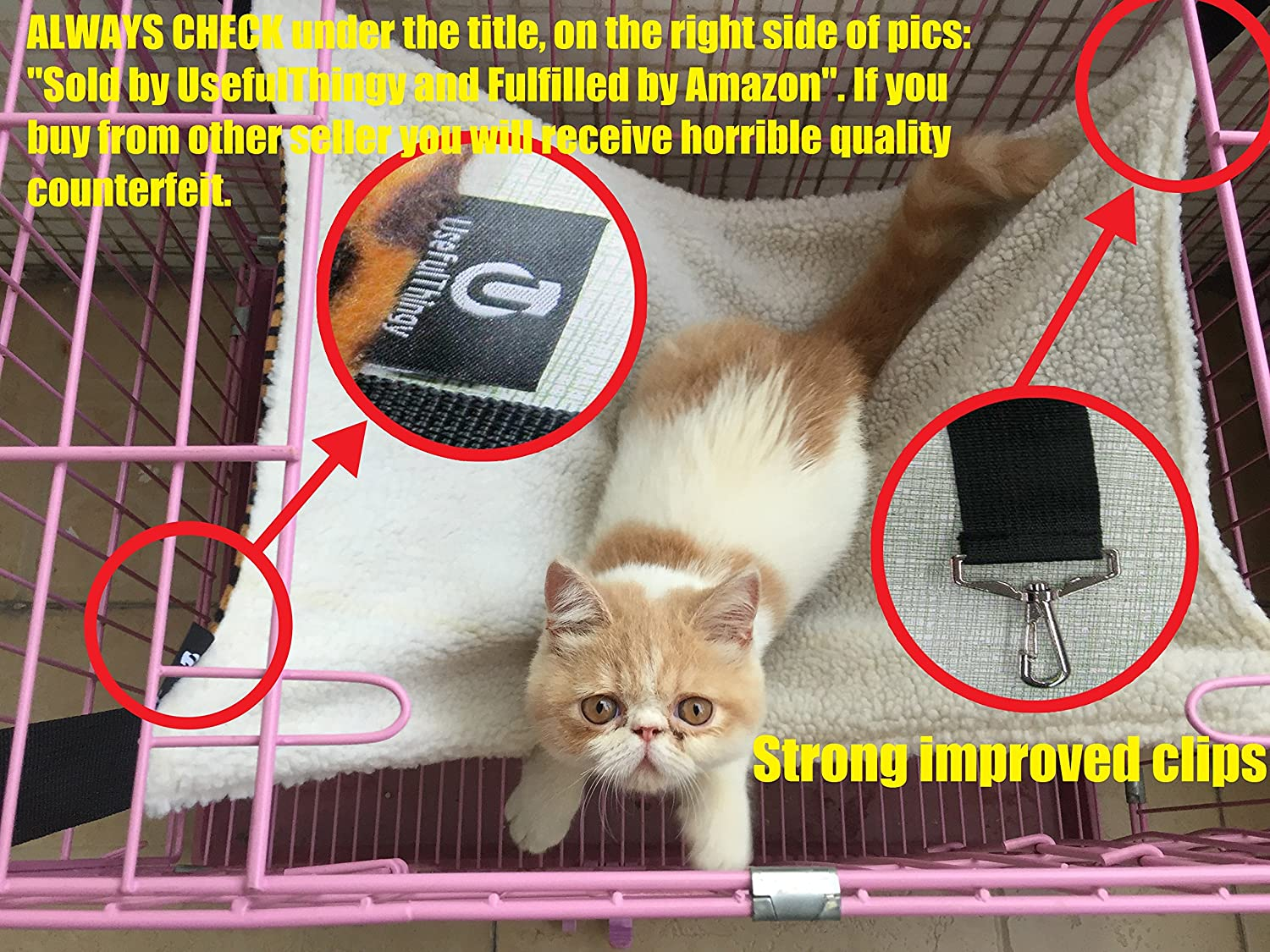 Easy to Attach to a Cage Rat Small Dogs or Other Pet Rabbit 3 Designs UsefulThingy Cat Hammock//Ferret