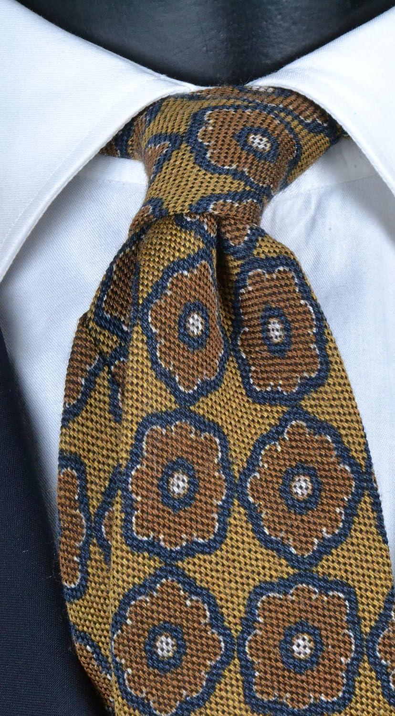 Corbata de hombre de lana y seda amarilla mostaza con fantasía ...