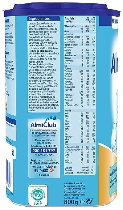 Almirón AR 1 Leche de fórmula anti-regurgitación en polvo a partir del primer día 800 g: Amazon.es: Alimentación y bebidas