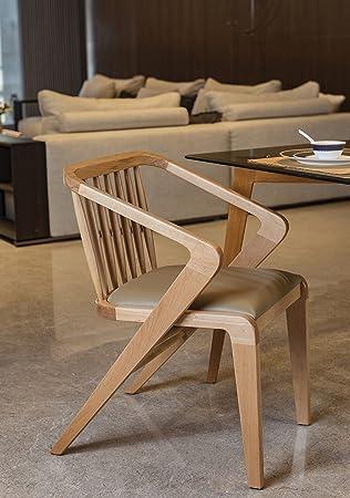 F9 Furnichair Striped Steam Beech Wood DC.POTRA Chair in Walnut Finish
