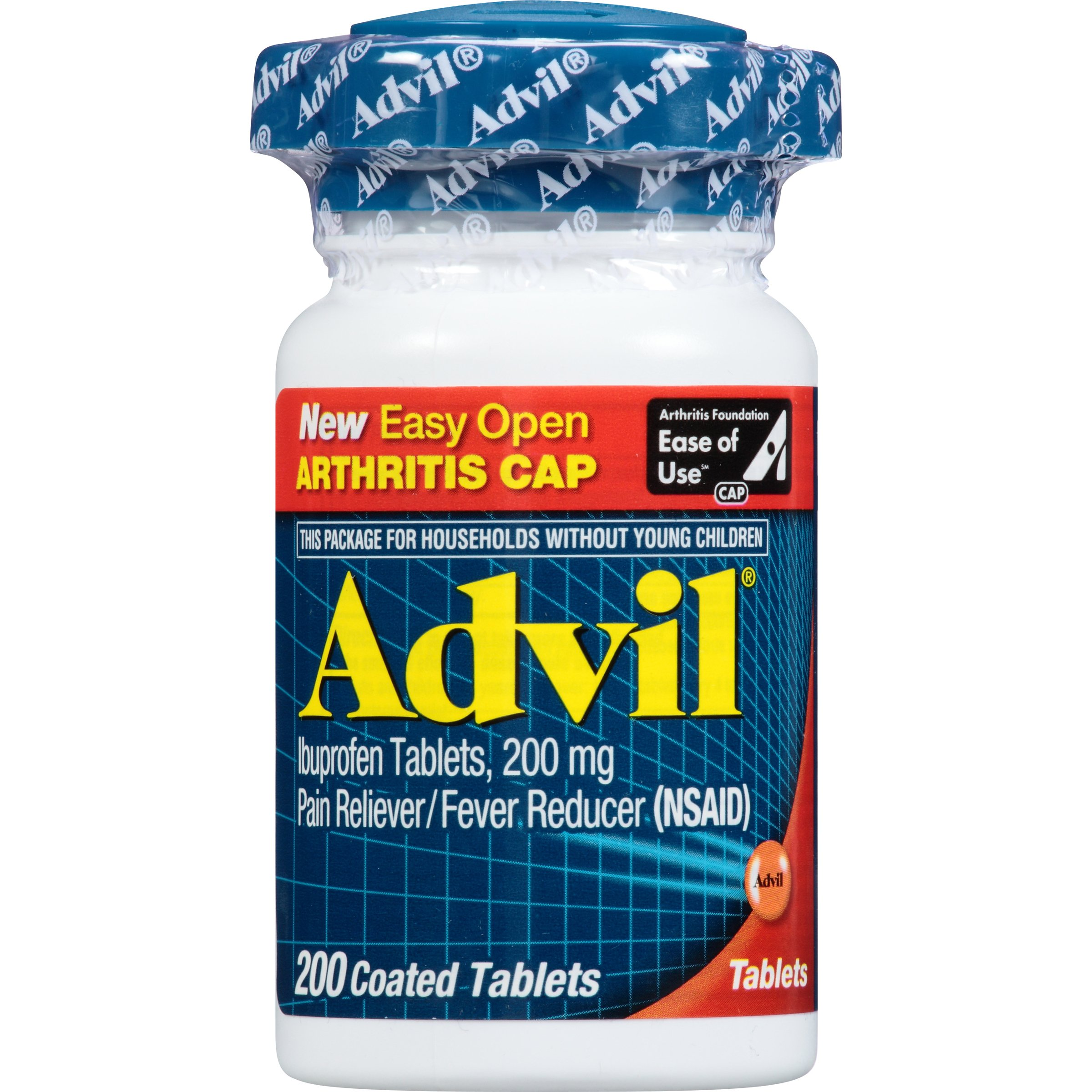 Advil (200 Count) Easy Open Arthritis Cap Pain Reliever / Fever Reducer Coated Tablet, 200mg Ibuprofen, Temporary Pain Relief by Advil