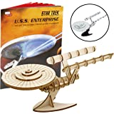 "Star Trek Original U.S.S. Enterprise Book and 3D Wood Model Kit - Build, Paint and Collect Your Own Wooden Model - Great For Kids and Adults,10+ - 7.5"" x 9"""