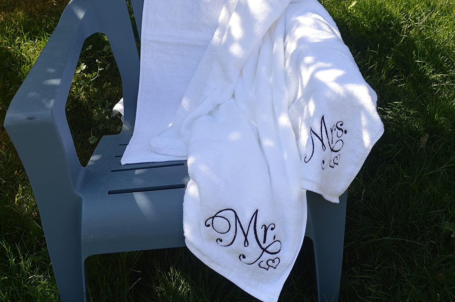 Luxury Mr and Mrs Embroidered Oversize White Beach Towel Gift Set