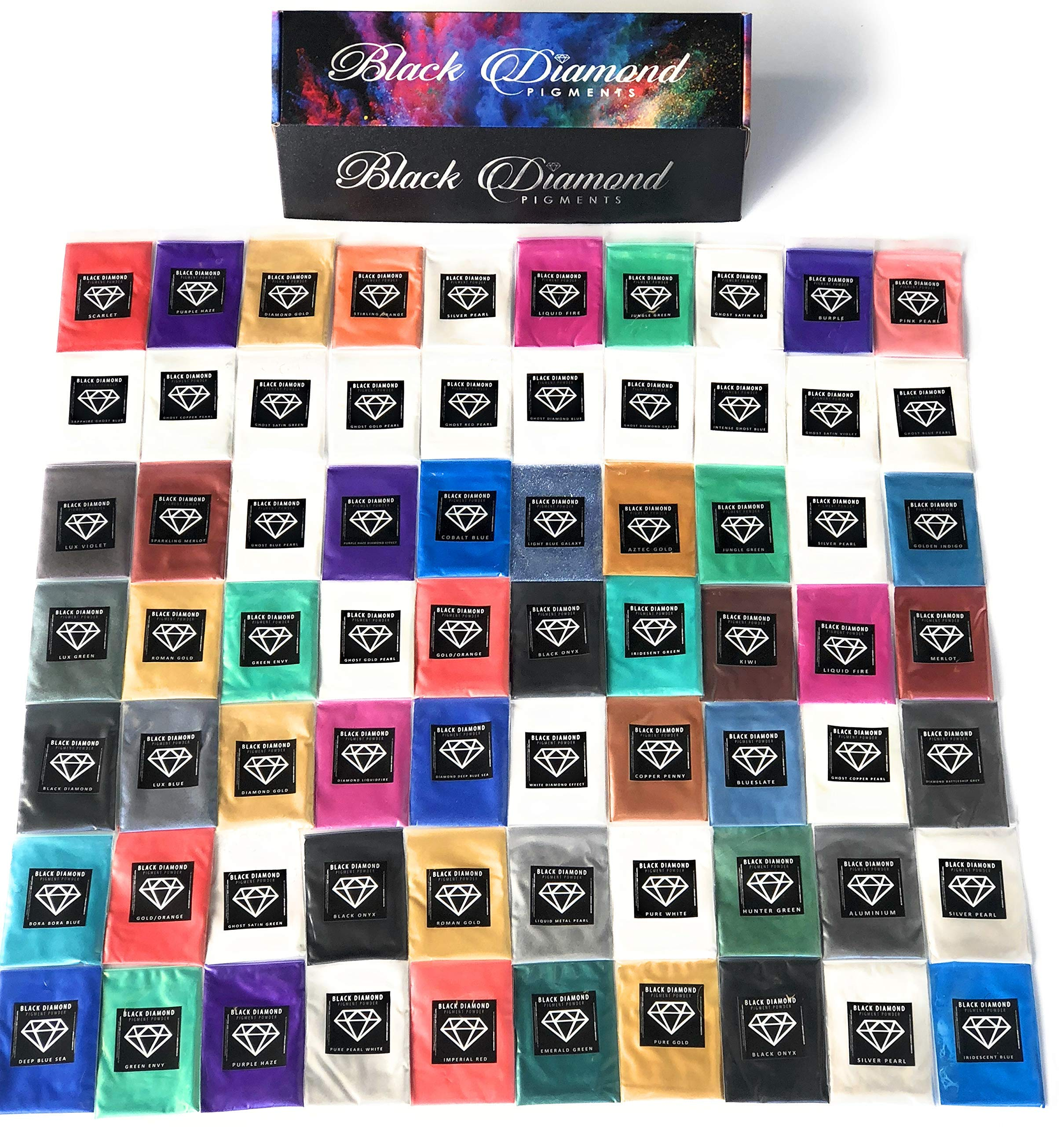 MICA Pigment Box 1'' (7 Variety Packs) 70-5g Packs Total Including Ghost pigments (Epoxy,Slime,Resin,Soap) Black Diamond Pigments by BLACK DIAMOND PIGMENTS