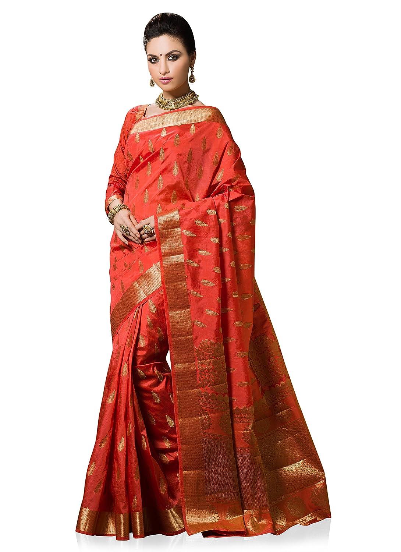 2ba0bc92d94932 Meghdoot Women s Woven Art Silk Saree Peach Color Sari  Amazon.co.uk   Clothing
