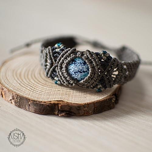 más fotos f4082 13f3f Pulsera macramé con piedra Jaspe: Amazon.es: Handmade