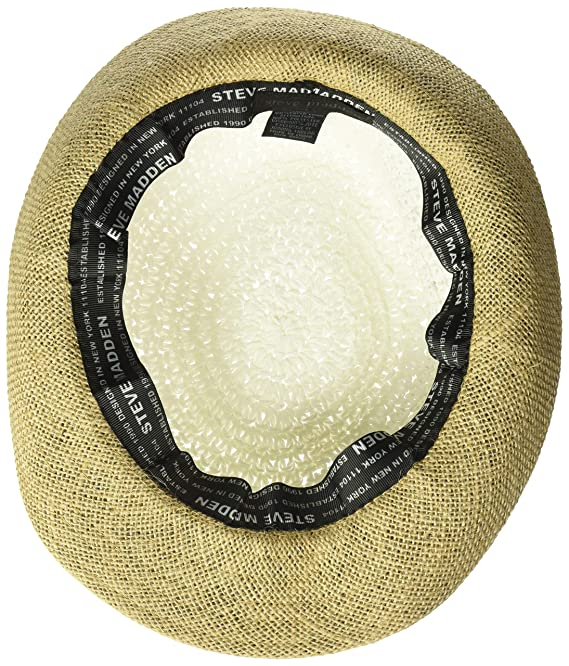 4689de830e4a24 Steve Madden Women's Paper Crochet Straw Fedora with Woven Band, Black One  Size at Amazon Women's Clothing store: