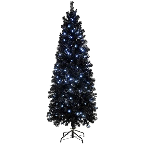 8 Christmas Tree Pre Lit: WeRChristmas Pre-Lit Slim Black Christmas Tree, 1.8 M