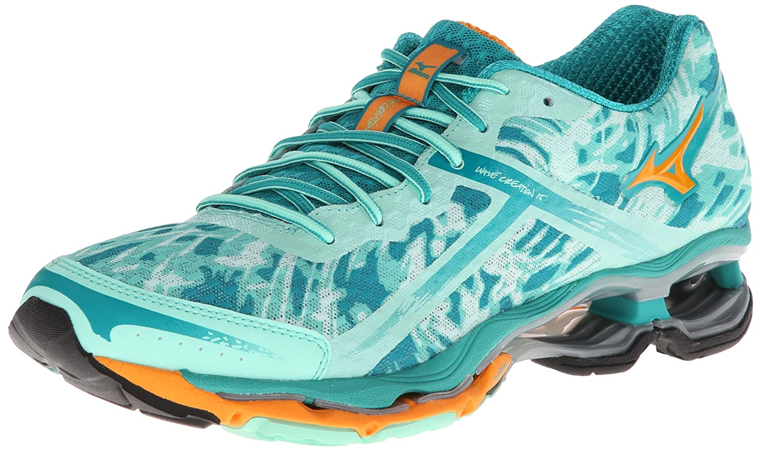 Mizuno Women's Wave Creation 15 Running Shoe B00EP05RZY 11 B(M) US|Cabbage/Bright Marigold/Columbia