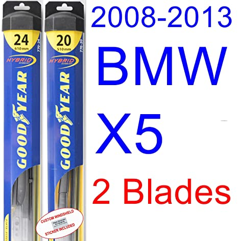 Amazon.com: 2008-2013 BMW X5 Replacement Wiper Blade Set/Kit (Set of 2 Blades) (Goodyear Wiper Blades-Hybrid) (2009,2010,2011,2012): Automotive