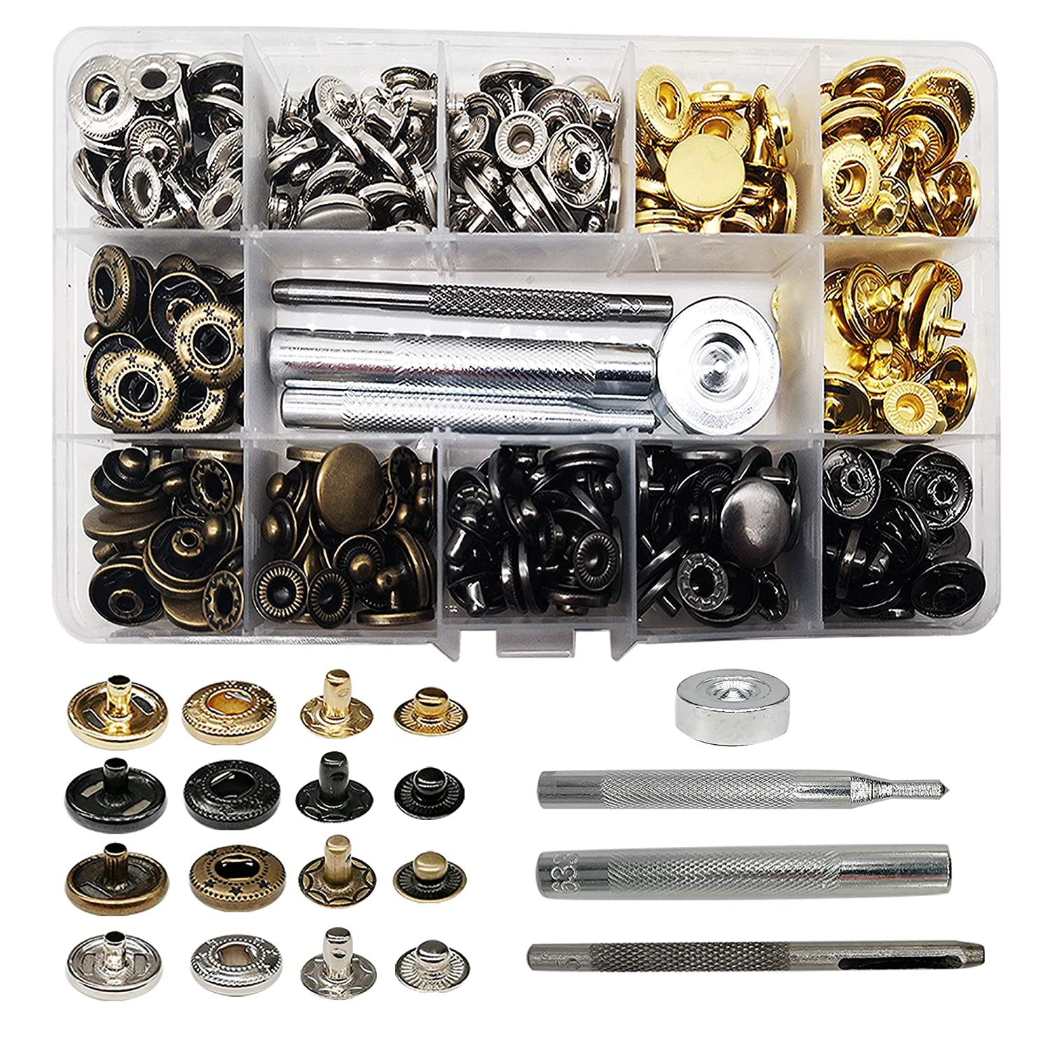 Jacket 4 Color Clothing Snaps Kit for Clothing Leather Fuman Forest 80 Sets Snap Fasteners Kit Jeans Wear Bracelet 15mm Metal Snap Buttons Press Studs with 4 Pieces Fixing Tools Bags