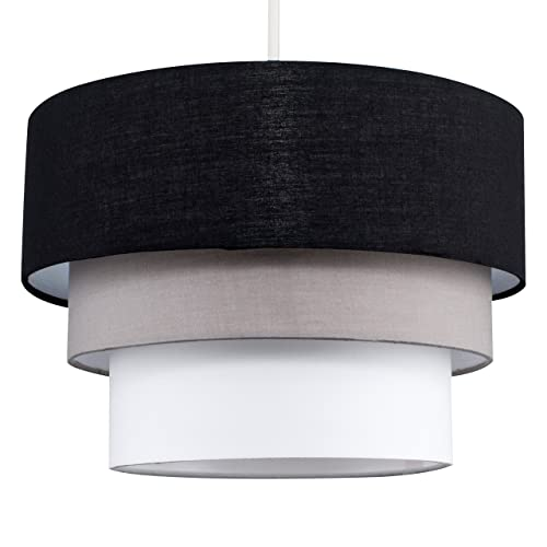 Beautiful Round Modern 3 Tier Black, Grey and White Fabric Ceiling Designer Pendant Lamp Light Shade