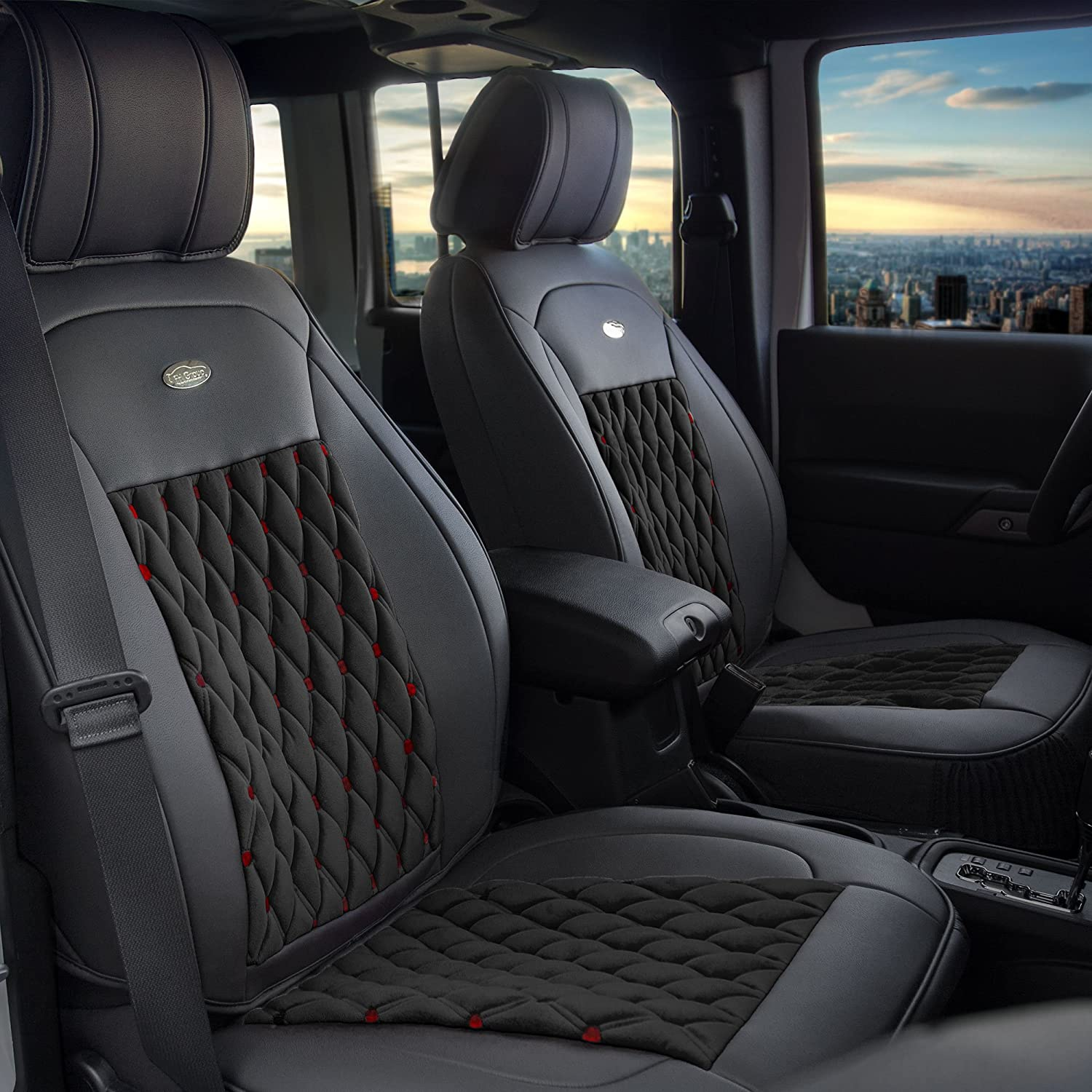 FH Group PU205SOLIDBLACK102 Solid Black Ultra Comfort Leatherette Front Seat Cushion Airbag Compatible