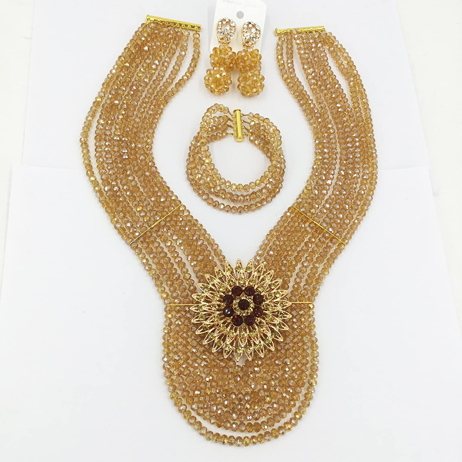 aczuv Red Nigerian Wedding African Beads Jewelry Set Crystal Necklace and Earrings for Women