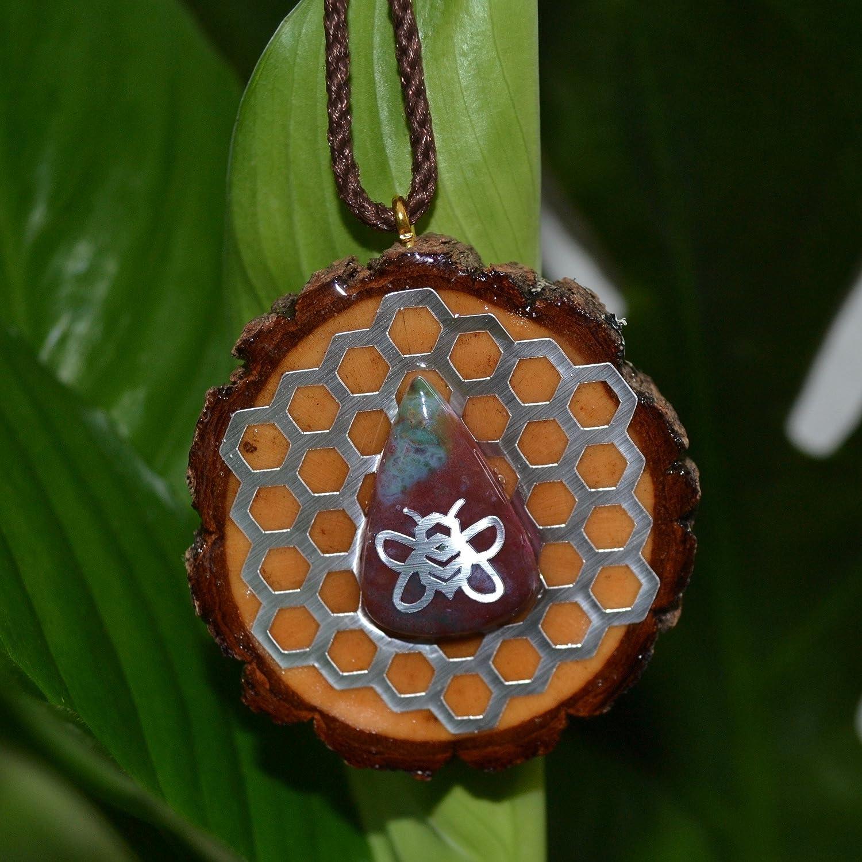 Bee Conscious Pendants Chrysocolla with Sacred Hexagon
