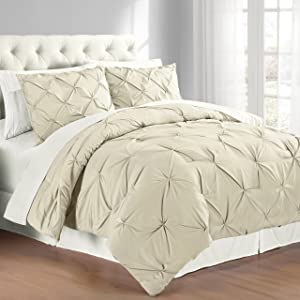 Swift Home Premium Collection 3-Piece Pintuck Comforter Set, F/Q, Taupe