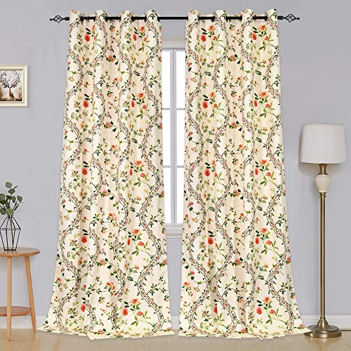 HUTO Yellow Floral Blackout Curtains for Bedroom Living Room 108 Inches Long – Extra Long Thermal Insulated Grommet Room Darkening Window Treatment Curtains Drapes for Sliding Glass Door 2 Panels
