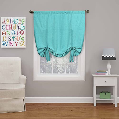 ECLIPSE Blackout Curtains for Kitchen – Kendall 42 x 63 Short Single Panel Tie Up Shades for Small Window, Turquoise