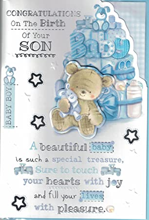 new baby boy card congratulations on the birth of your gorgeous son lovely quality