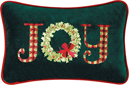 C F Home 8×12 Inches Velvet Christmas Pillow, Joy