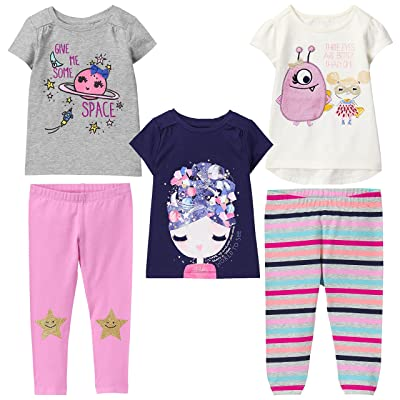183730160edbd Gymboree Toddler Girls' 5-Piece Bundle Cosmic Club Tee Shirts & Leggings  Collection